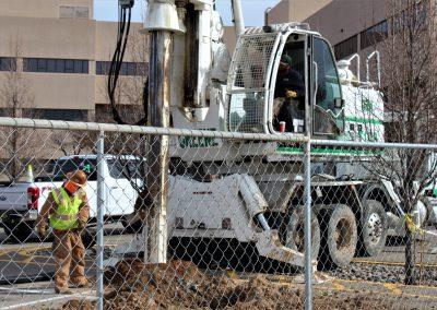 Man operating crane machine